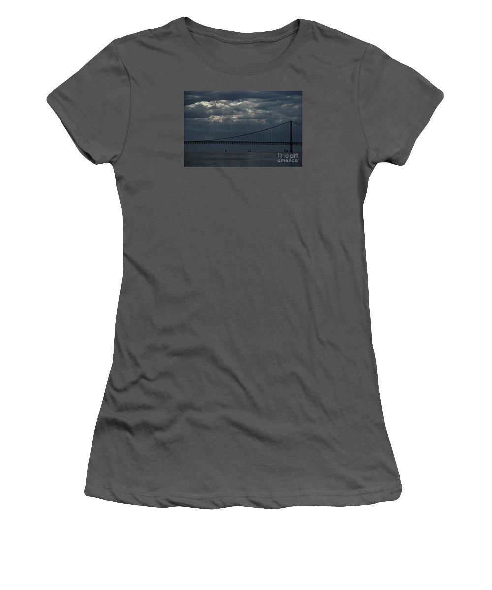 Mighty Mac Women's T-Shirt (Athletic Fit) featuring the photograph Sail Beneath The Mighty Mac by Linda Shafer