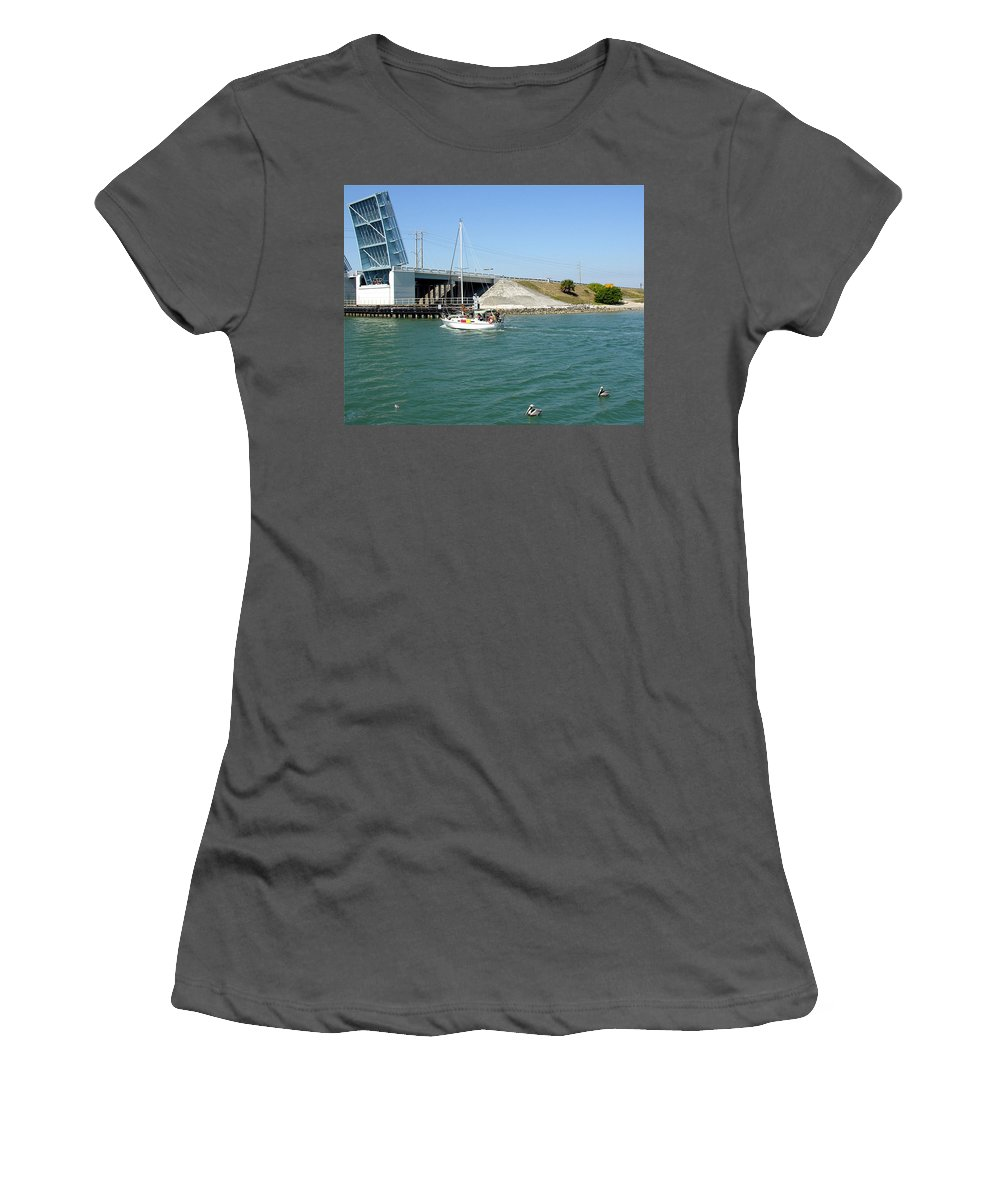 Port; Canaveral; Locks; Sail; Boat; Pelicans; Sailboat Drawbridge; Sailboat; Indian River; Indian; I Women's T-Shirt (Athletic Fit) featuring the photograph Sailing In Port Canaveral Florida by Allan Hughes