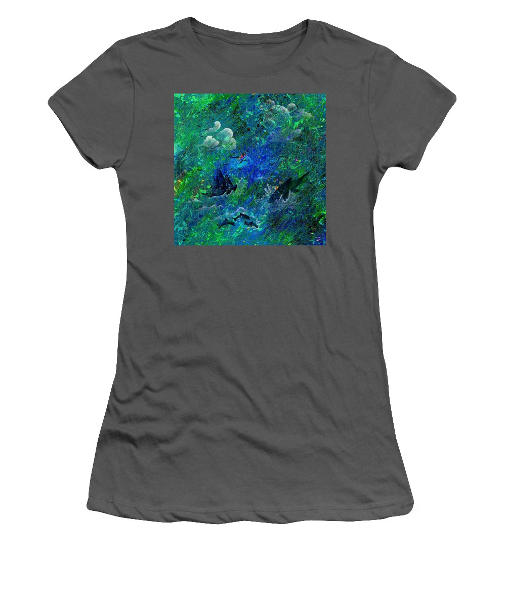 Seascape Women's T-Shirt (Athletic Fit) featuring the digital art Sailing The Seven Seas by Rachel Christine Nowicki