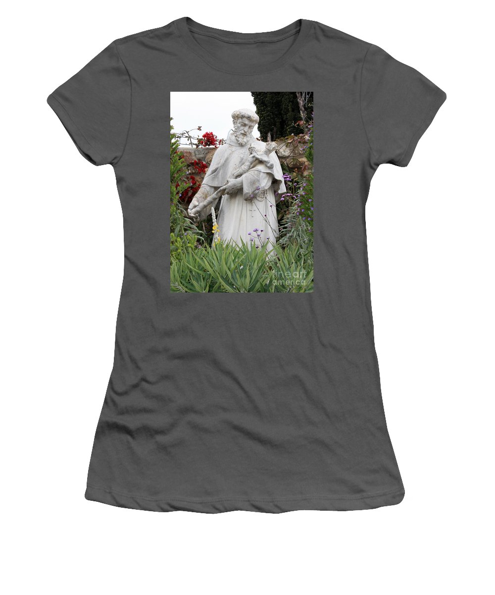 Saint Francis Women's T-Shirt (Athletic Fit) featuring the photograph Saint Francis Statue In Carmel Mission Garden by Carol Groenen