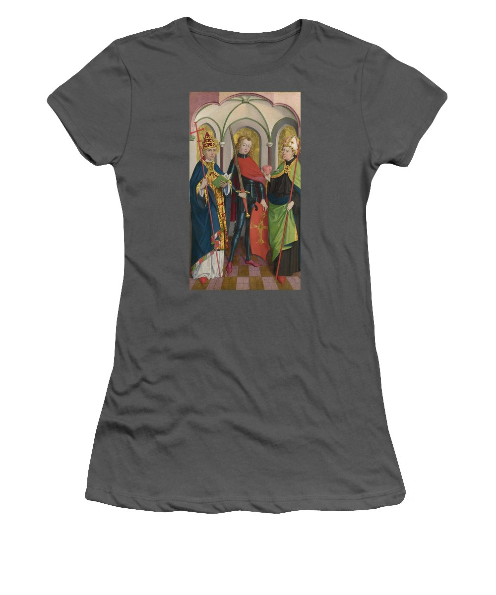 Circle Women's T-Shirt (Athletic Fit) featuring the digital art Saints Gregory Maurice And Augustine by PixBreak Art