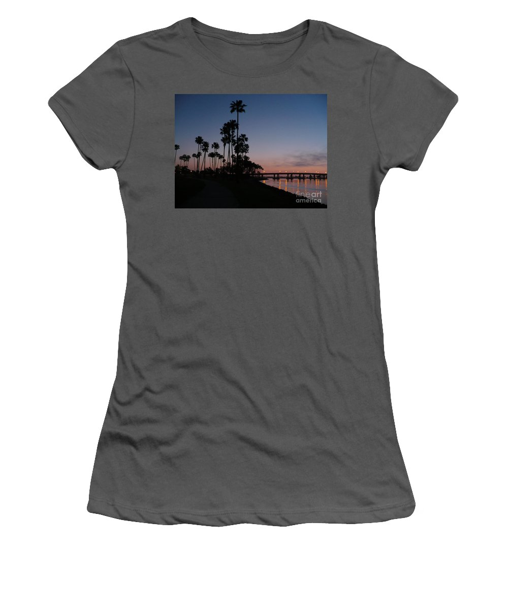 Sunset Women's T-Shirt (Athletic Fit) featuring the photograph San Diego Sunset With Palm Trees by Carol Groenen