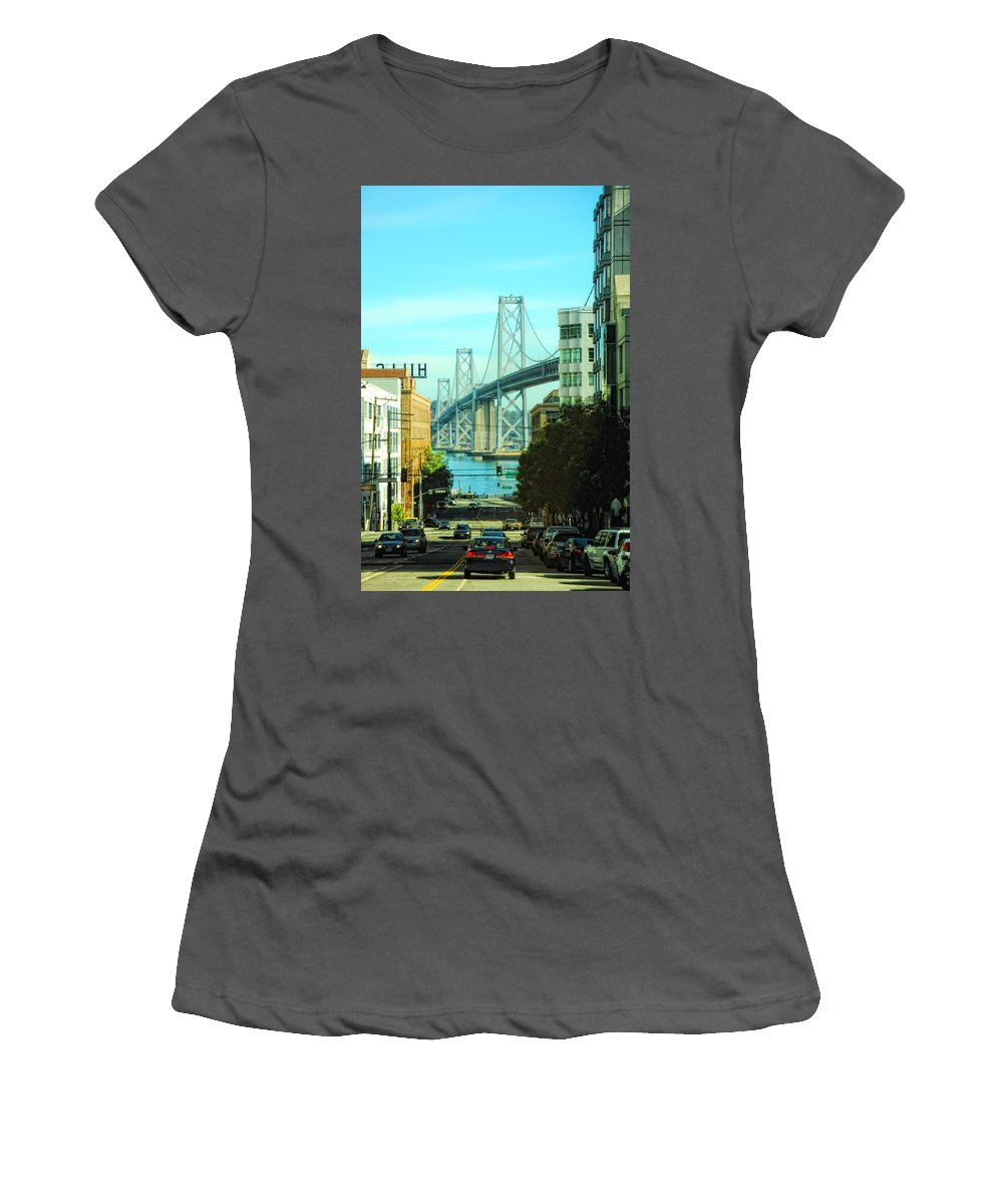 San Francisco Women's T-Shirt (Athletic Fit) featuring the photograph San Francisco Street by Donna Blackhall