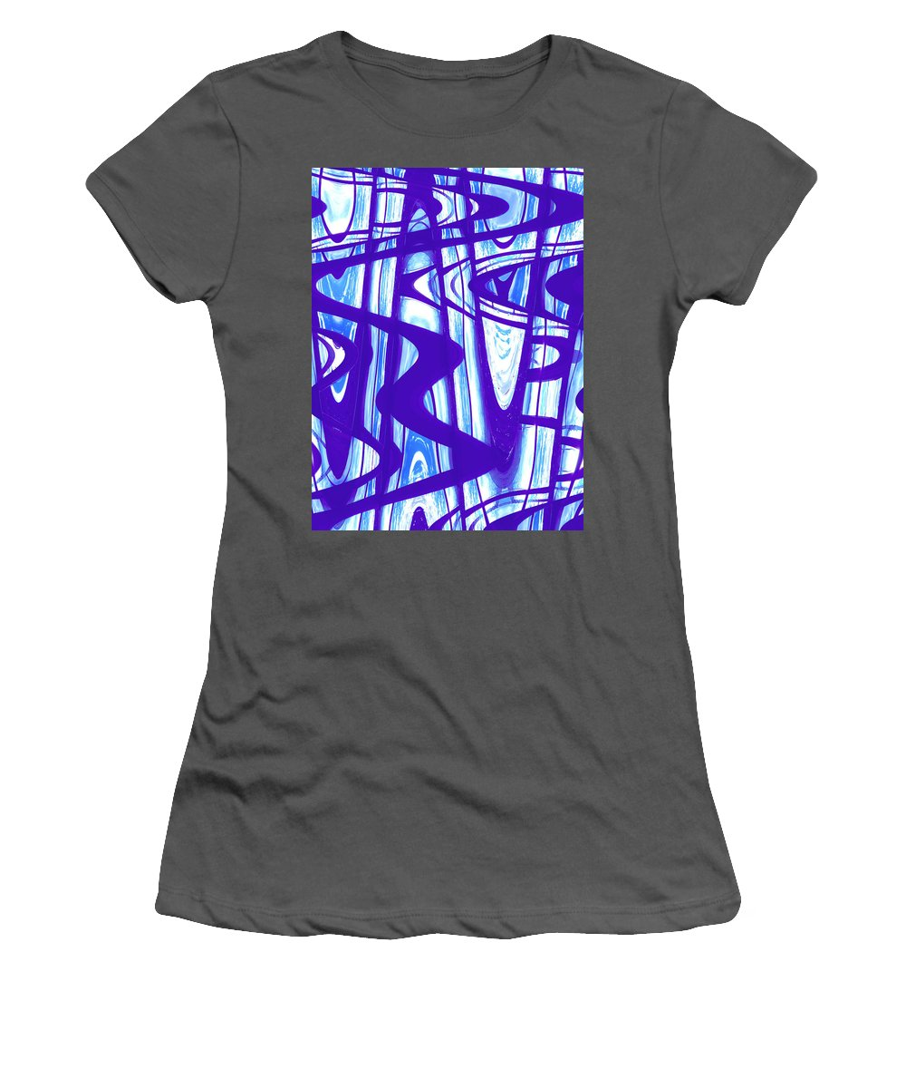 Moveonart Digital Gallery San Francisco California Lower Nob Hill Jacob Kane Kanduch Women's T-Shirt (Athletic Fit) featuring the painting San Francisco Window One by Jacob Kanduch