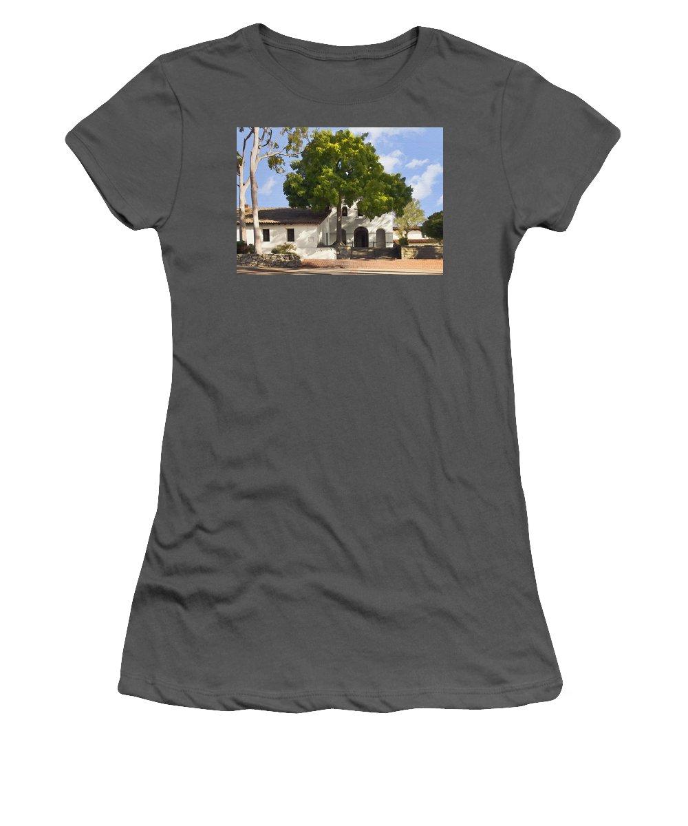 San Luis Obispo De Tolosa Mission Women's T-Shirt (Athletic Fit) featuring the digital art San Luis Mission by Sharon Foster