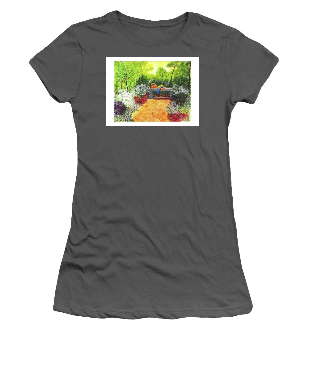 Garden Painting Women's T-Shirt (Athletic Fit) featuring the painting Sanctuary by Patricia Griffin Brett