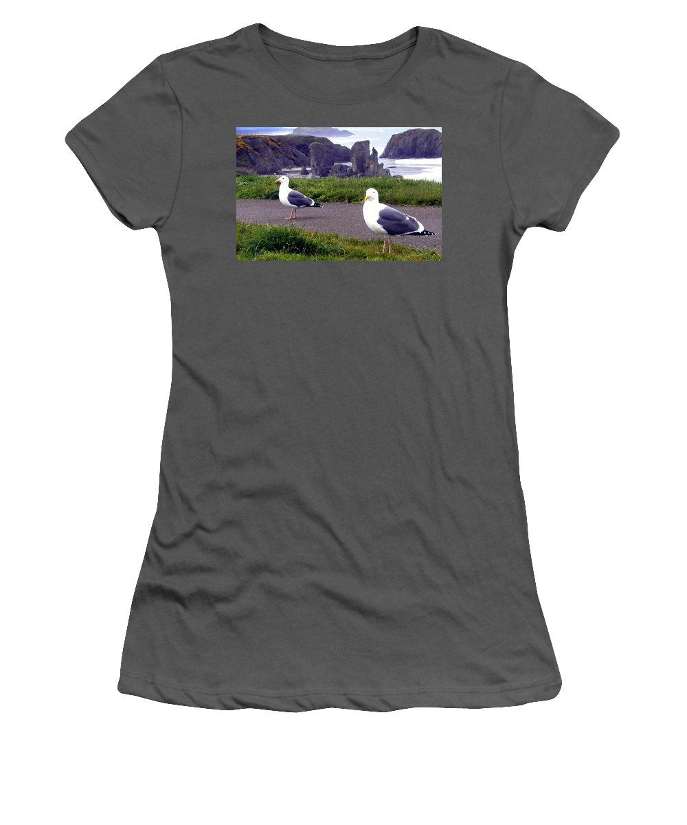 Sand And Sea Women's T-Shirt (Athletic Fit) featuring the photograph Sand And Sea 3 by Will Borden