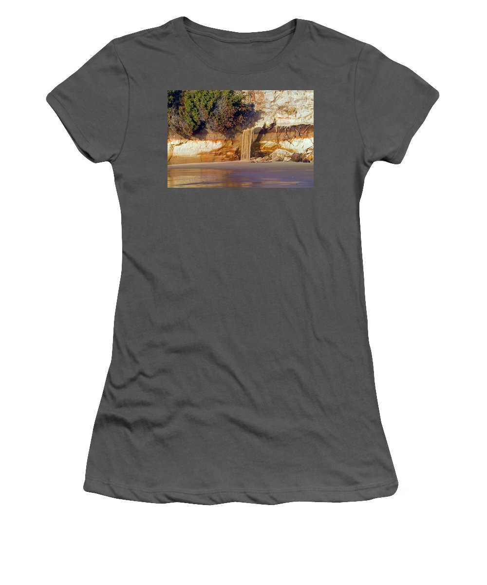 Unique Women's T-Shirt (Athletic Fit) featuring the photograph Sandfall II by Randall Ingalls