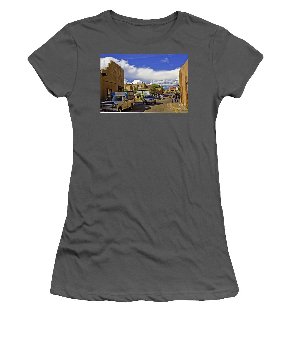 Santa Fe Women's T-Shirt (Athletic Fit) featuring the photograph Santa Fe Plaza 2 by Madeline Ellis