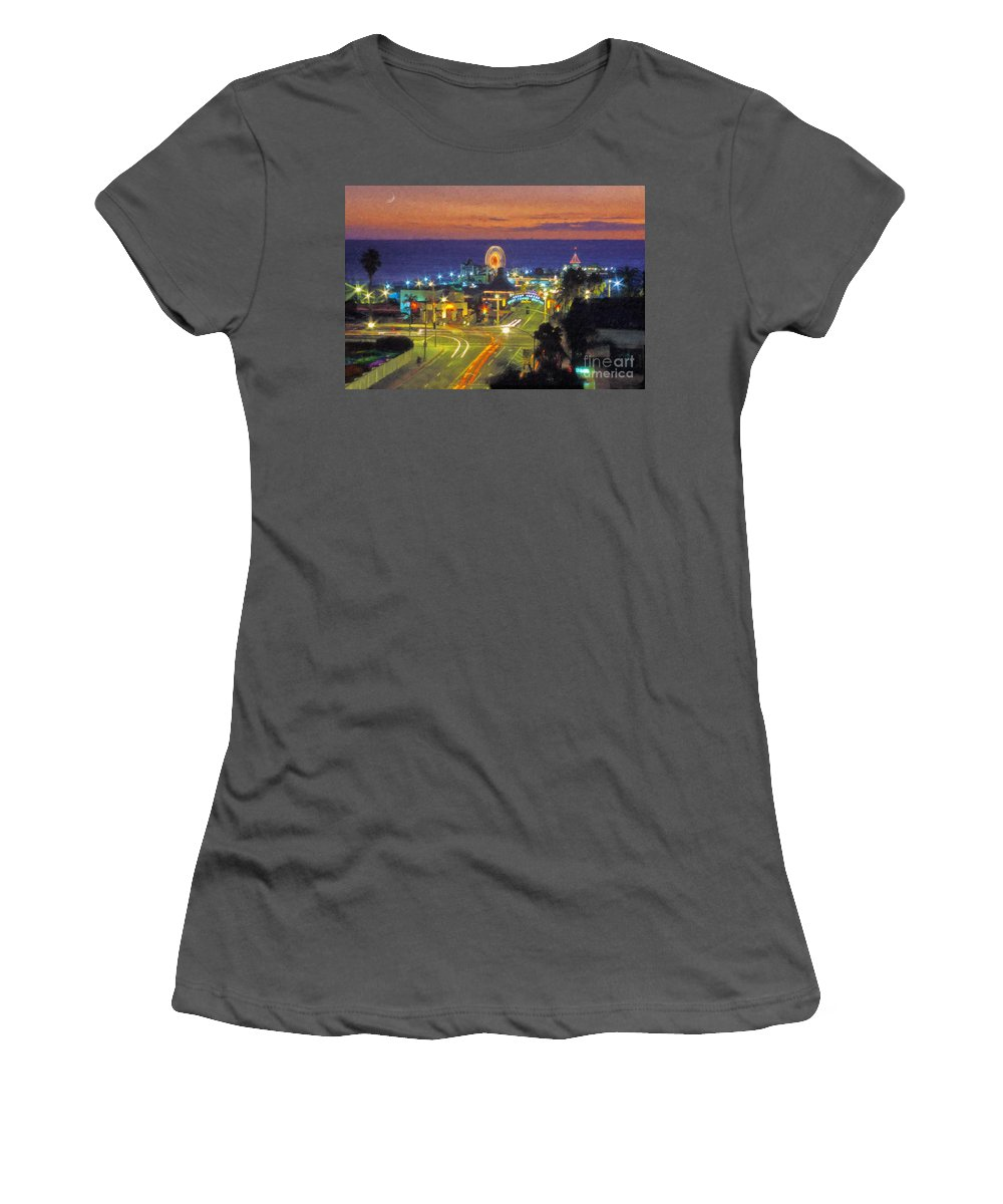 Santa Monica Women's T-Shirt (Athletic Fit) featuring the photograph Santa Monica Ca Pacific Park Pier by David Zanzinger