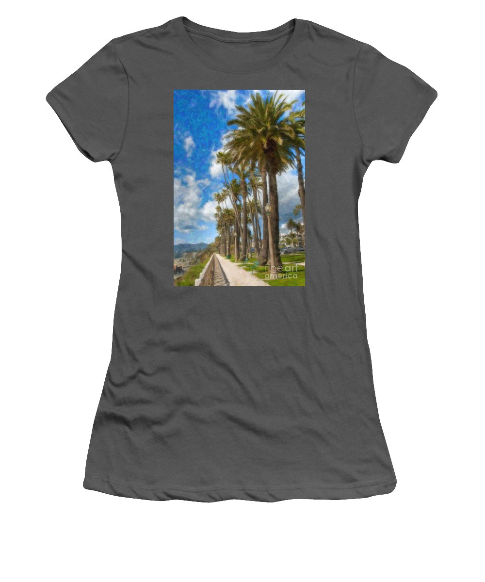 Santa Monica Ca Palisades Park Bluffs Women's T-Shirt (Athletic Fit) featuring the photograph Santa Monica Ca Palisades Park Bluffs by David Zanzinger