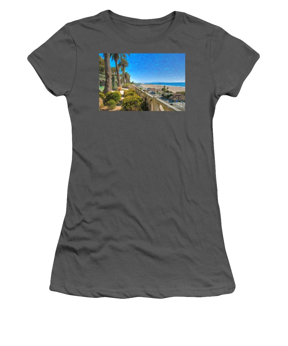 Santa Monica Women's T-Shirt (Athletic Fit) featuring the photograph Santa Monica Ca Palisades Park Bluffs Gold Coast Luxury Houses by David Zanzinger