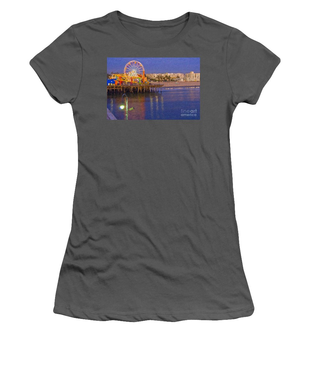 Santa Monica Women's T-Shirt (Athletic Fit) featuring the photograph Santa Monica Pacific Park Pier And Lowes Hotel by David Zanzinger