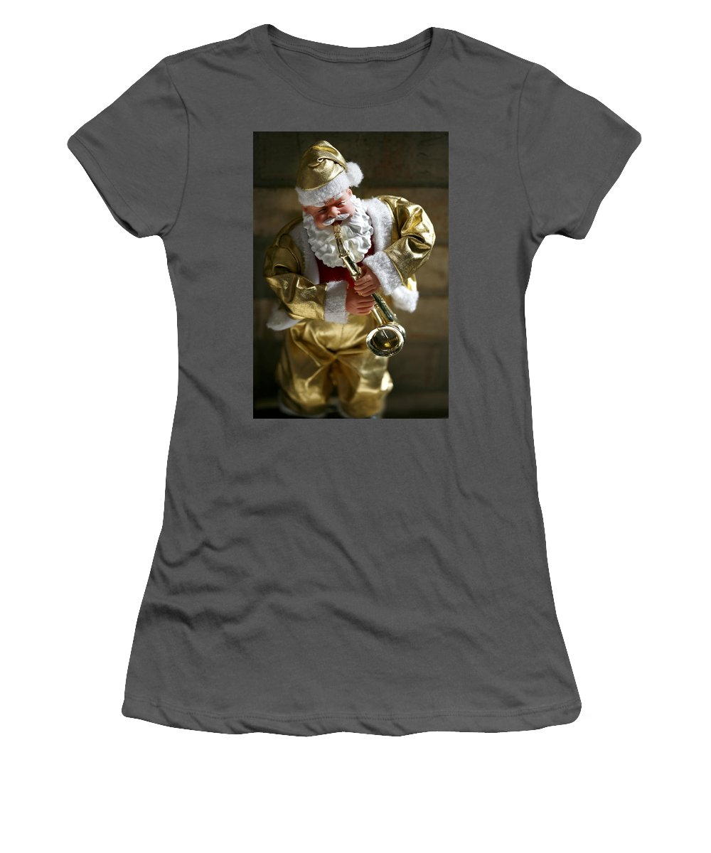 Americana Women's T-Shirt (Athletic Fit) featuring the photograph Santa Playing The Saxaphone by Marilyn Hunt