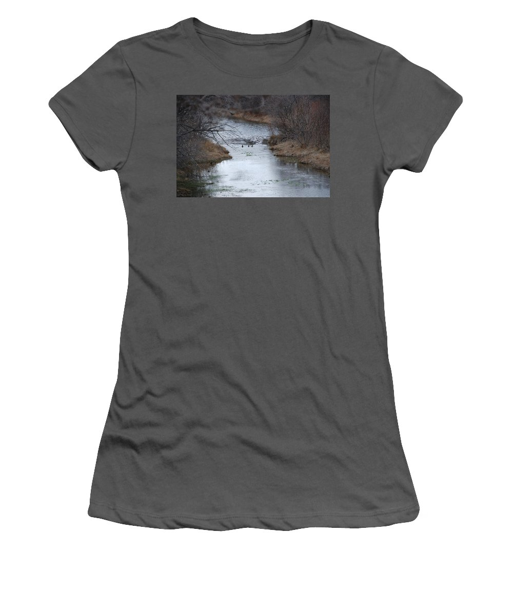 Birds Women's T-Shirt (Athletic Fit) featuring the photograph Sante Fe River by Rob Hans