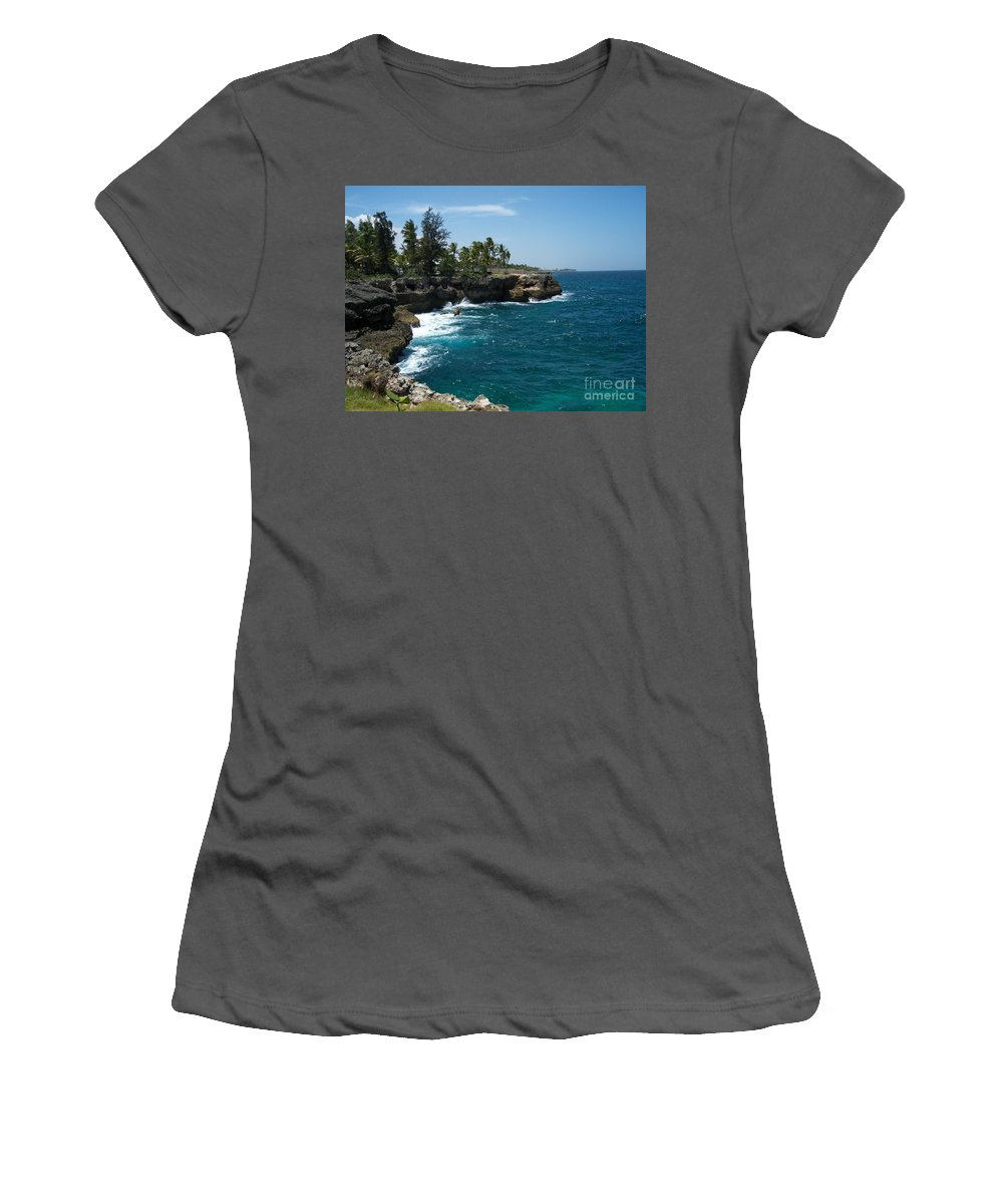Santo Domingo Women's T-Shirt (Athletic Fit) featuring the photograph Santo Domingo Coastal View. by Heather Kirk