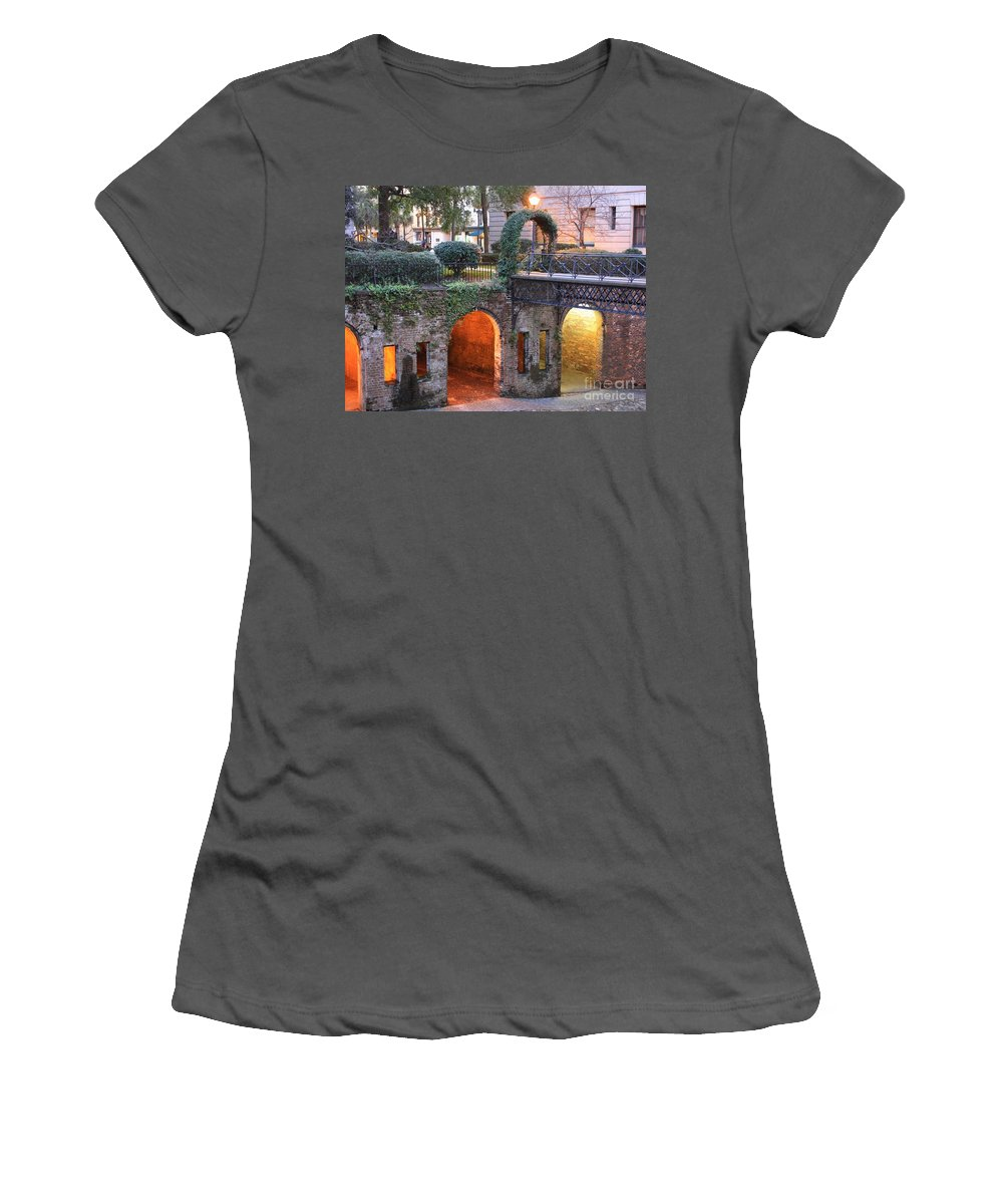 Savannah Women's T-Shirt (Athletic Fit) featuring the photograph Savannah Lights by Carol Groenen