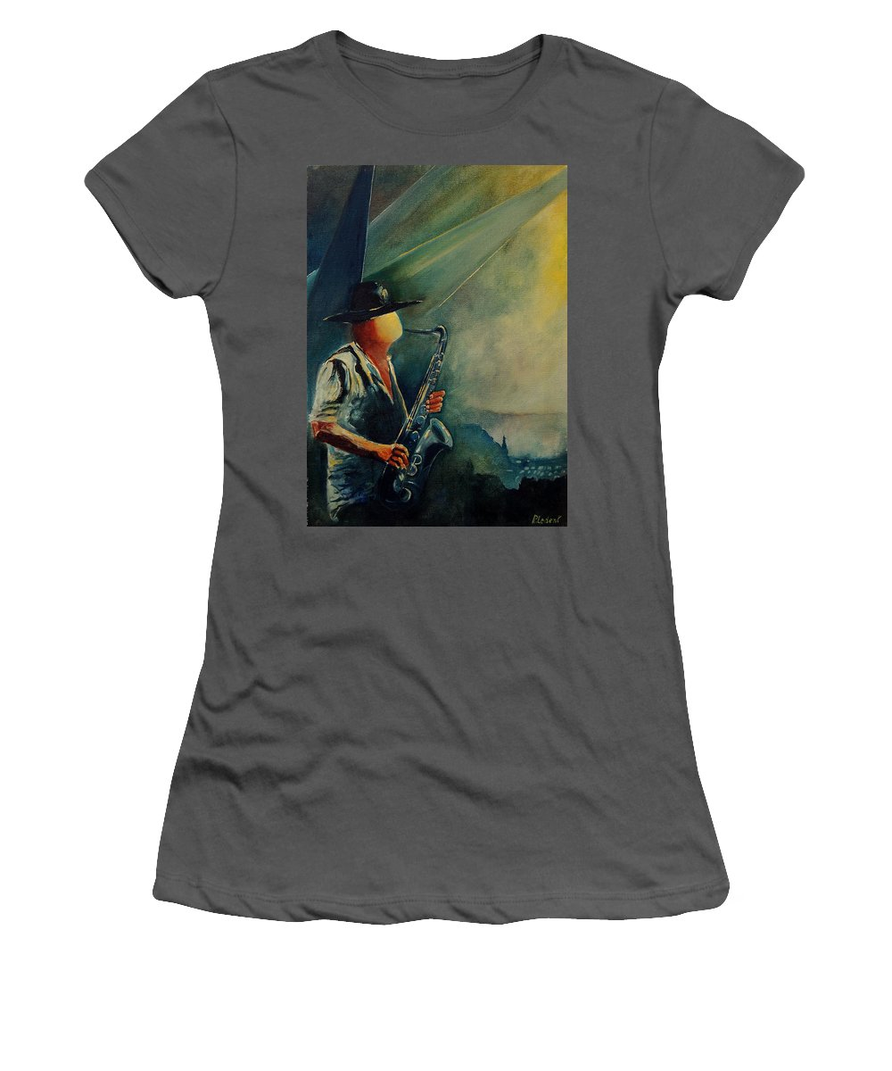 Music Women's T-Shirt (Athletic Fit) featuring the painting Sax Player by Pol Ledent