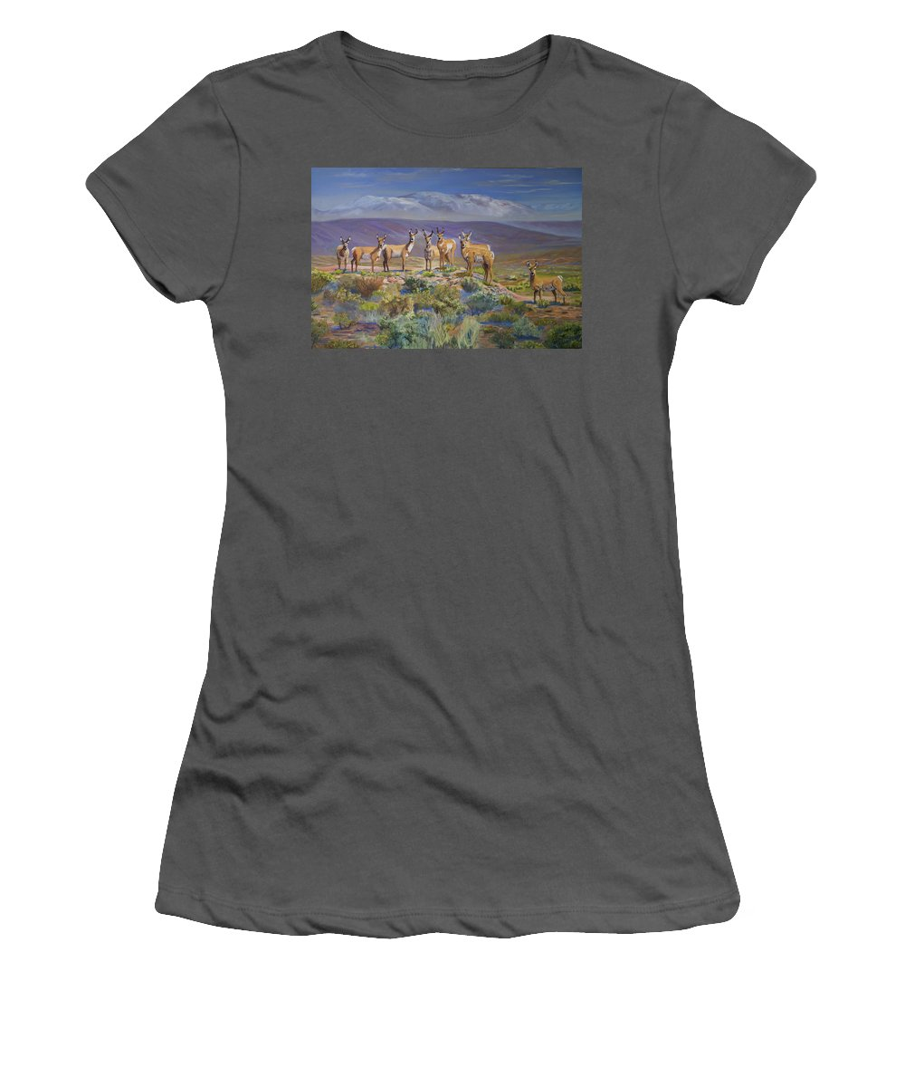 Antelope Women's T-Shirt (Athletic Fit) featuring the painting Say Cheese Antelope by Heather Coen