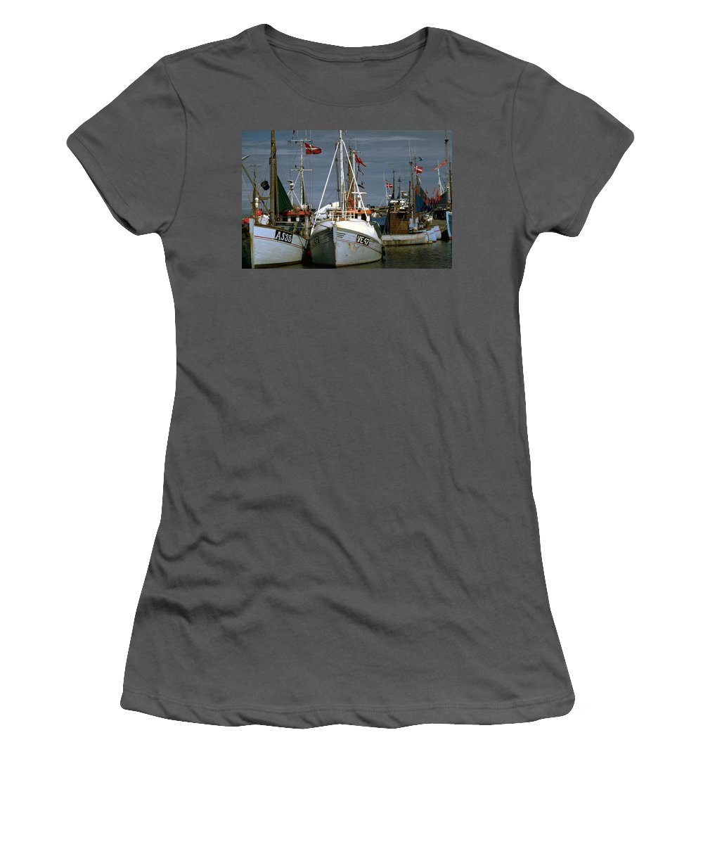 Scandinavian Women's T-Shirt (Athletic Fit) featuring the photograph Scandinavian Fisher Boats by Flavia Westerwelle