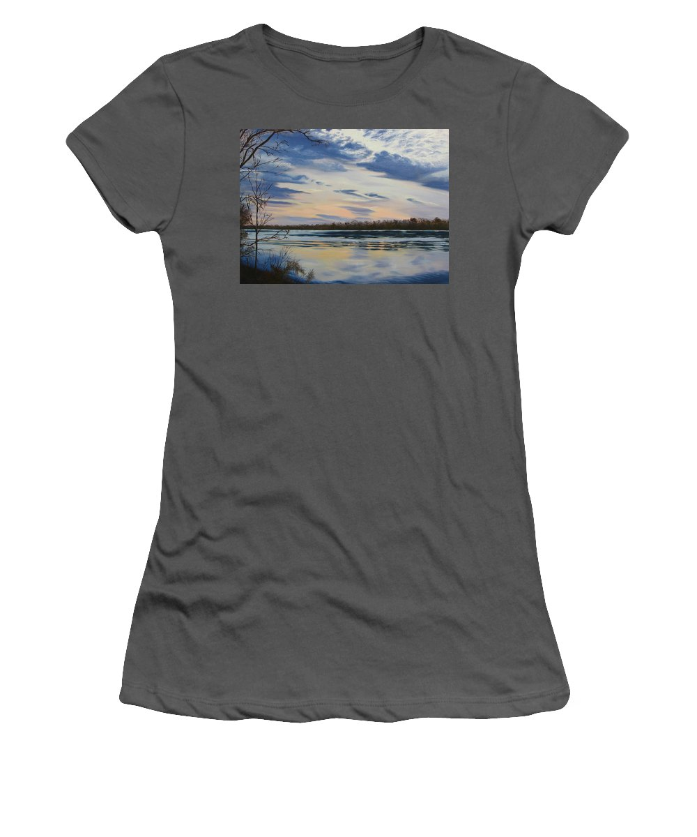 Clouds Women's T-Shirt (Athletic Fit) featuring the painting Scenic Overlook - Delaware River by Lea Novak