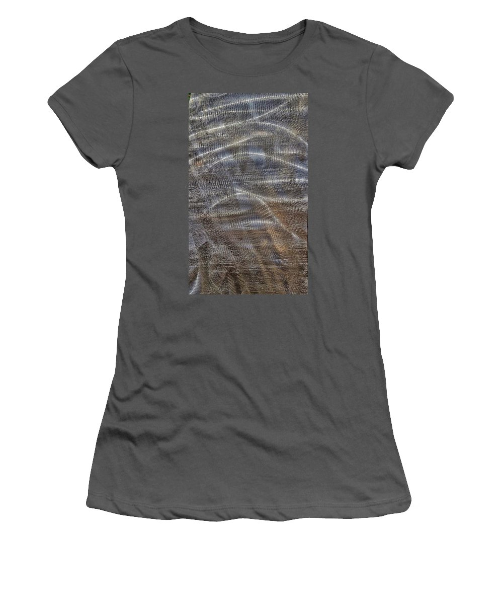 Women's T-Shirt (Athletic Fit) featuring the photograph Scratched Metal by Renee Longo