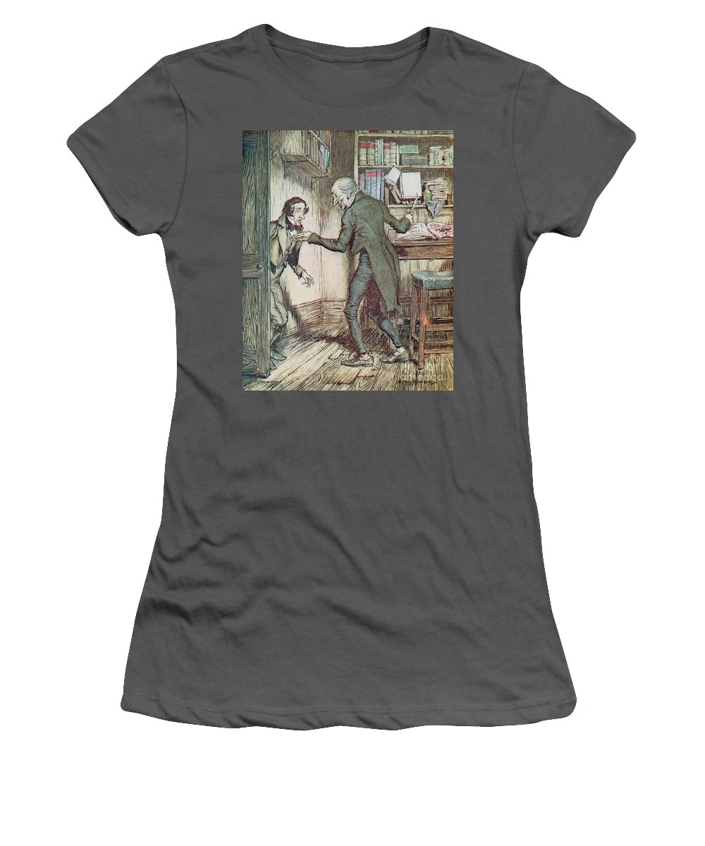 Arthur Rackham Women's T-Shirt (Athletic Fit) featuring the drawing Scrooge And Bob Cratchit by Arthur Rackham