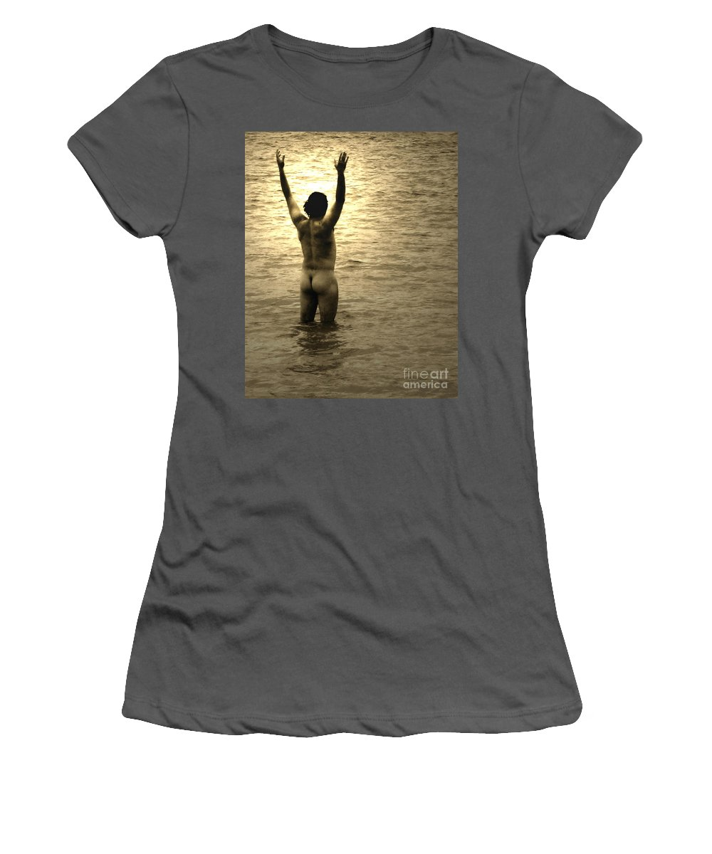 Man Women's T-Shirt (Athletic Fit) featuring the photograph Sea Worshipping by Caroline Peacock