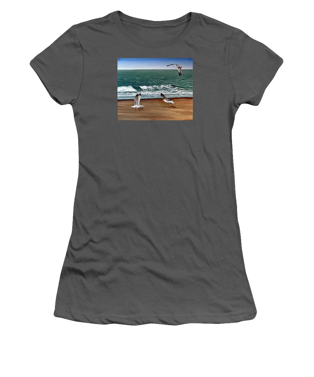 Seascape Women's T-Shirt (Athletic Fit) featuring the painting Seagulls 2 by Natalia Tejera