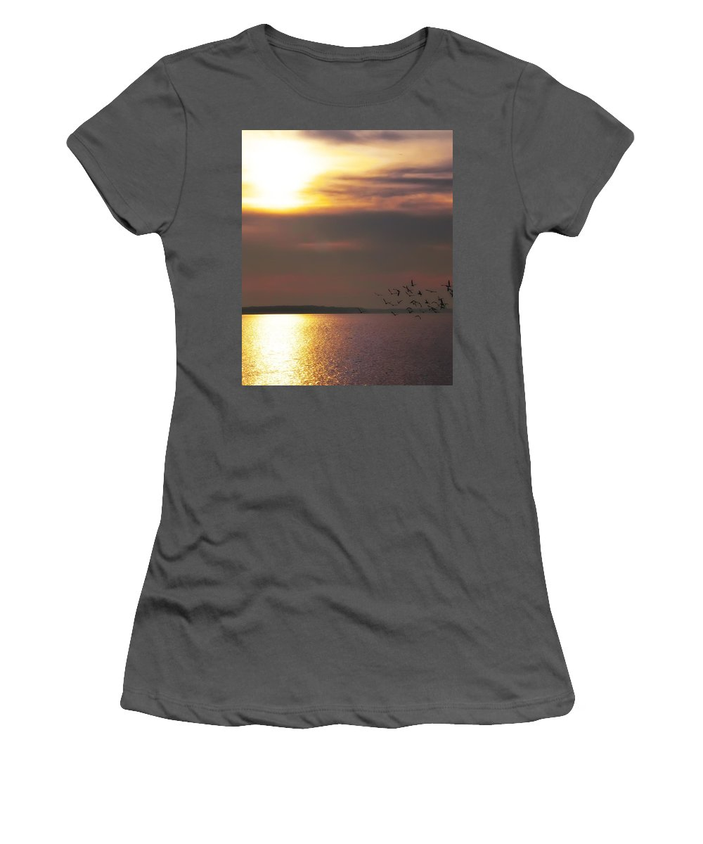 Seagulls Women's T-Shirt (Athletic Fit) featuring the photograph Seagulls On The Chesapeake by Bill Cannon