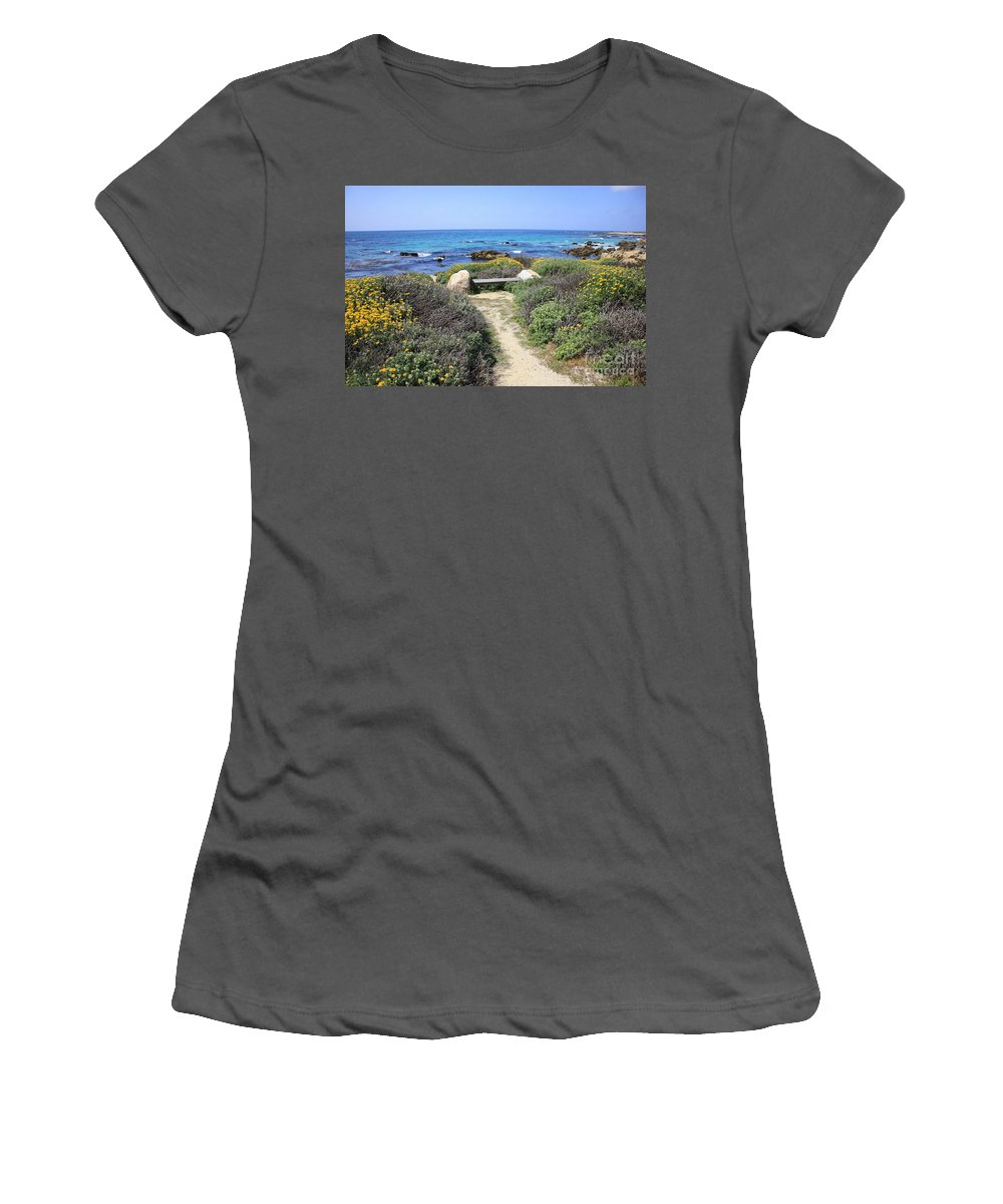Landscape Women's T-Shirt (Athletic Fit) featuring the photograph Seaside Bench by Carol Groenen