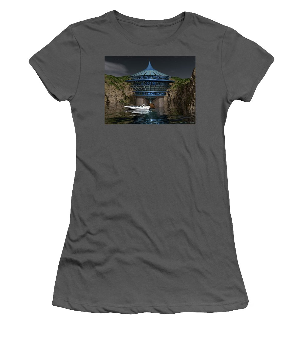 Boat Women's T-Shirt (Athletic Fit) featuring the digital art Secluded Condo On The Water by Michael Wimer
