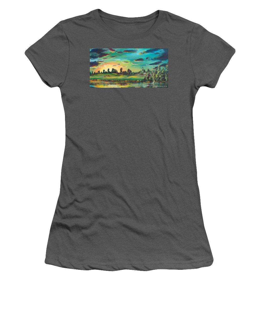 Landscape Women's T-Shirt (Athletic Fit) featuring the painting Secret Place by Gina De Gorna