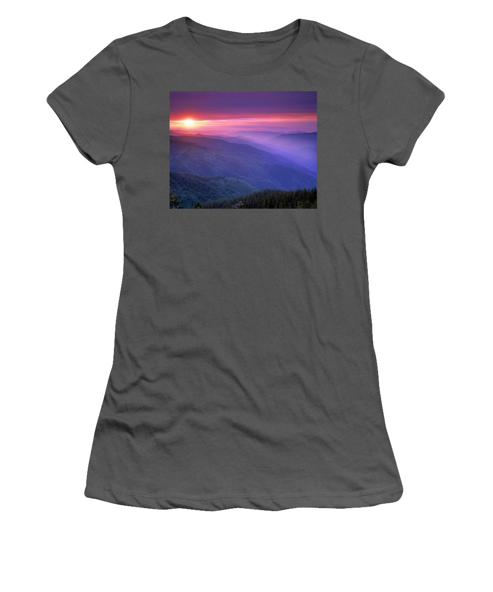 Selway Wilderness Women's T-Shirt (Athletic Fit) featuring the photograph Selway Sunrise by Leland D Howard