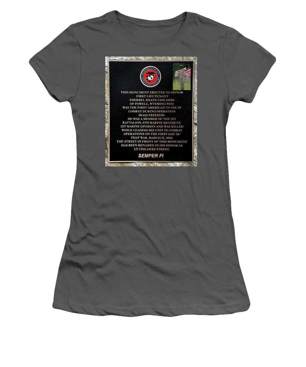 Cody Wyoming Military Memorial Women's T-Shirt (Athletic Fit) featuring the photograph Semper Fi To The 1st Man Down In Iraqi Freedom Plaque by Thomas Woolworth