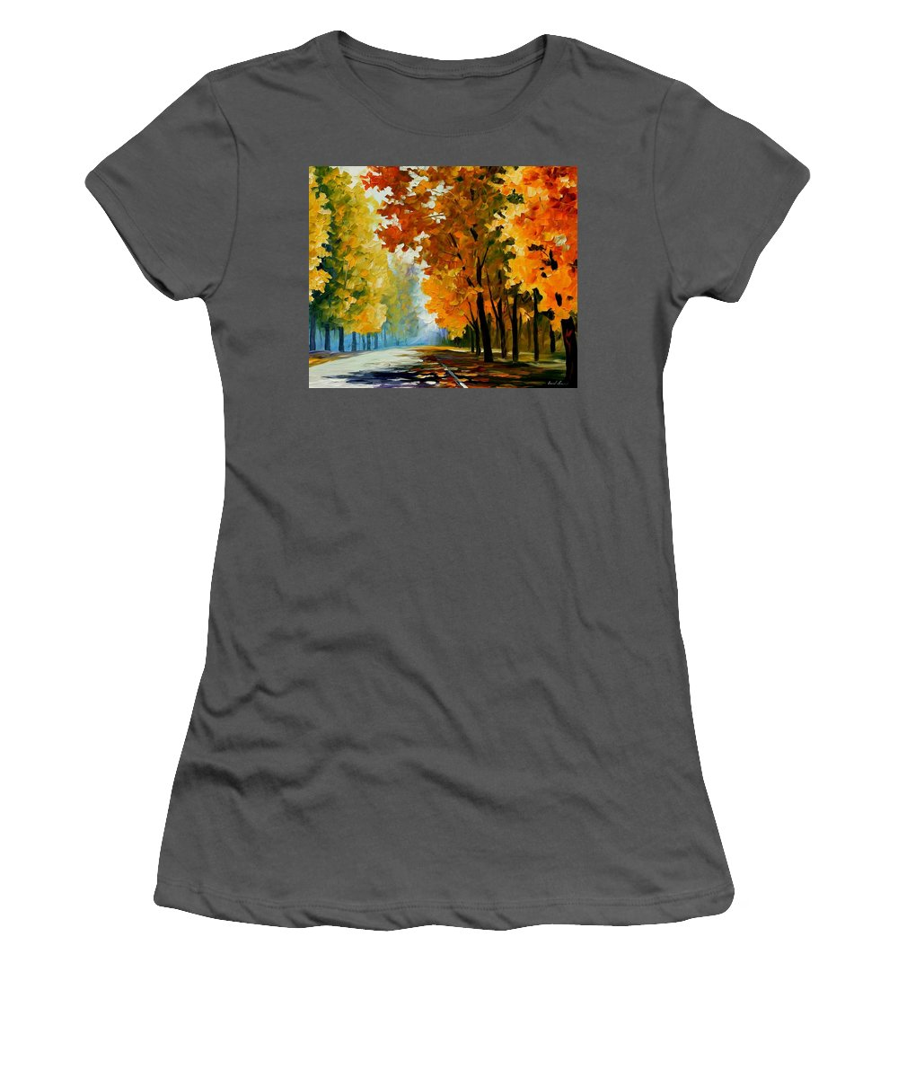 Afremov Women's T-Shirt (Athletic Fit) featuring the painting September Morning by Leonid Afremov