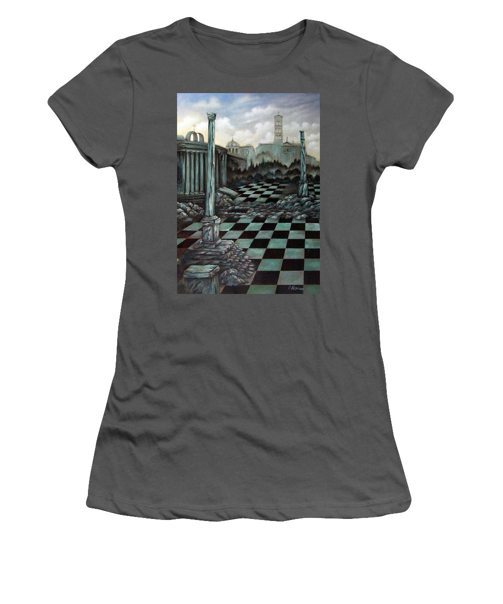 Surreal Women's T-Shirt (Athletic Fit) featuring the painting Sepulchre by Valerie Vescovi
