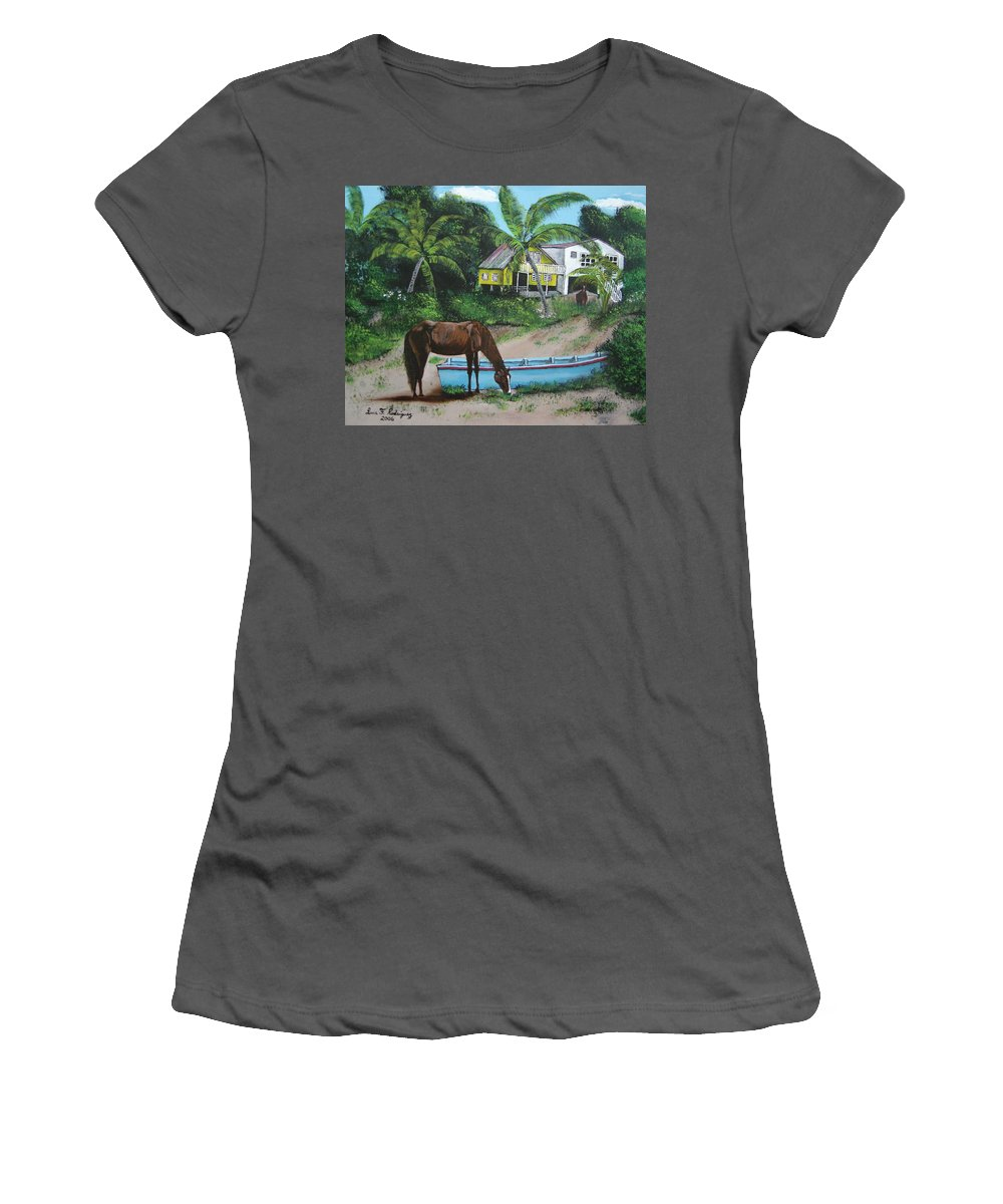 Aguadilla Women's T-Shirt (Athletic Fit) featuring the painting Serenity by Luis F Rodriguez