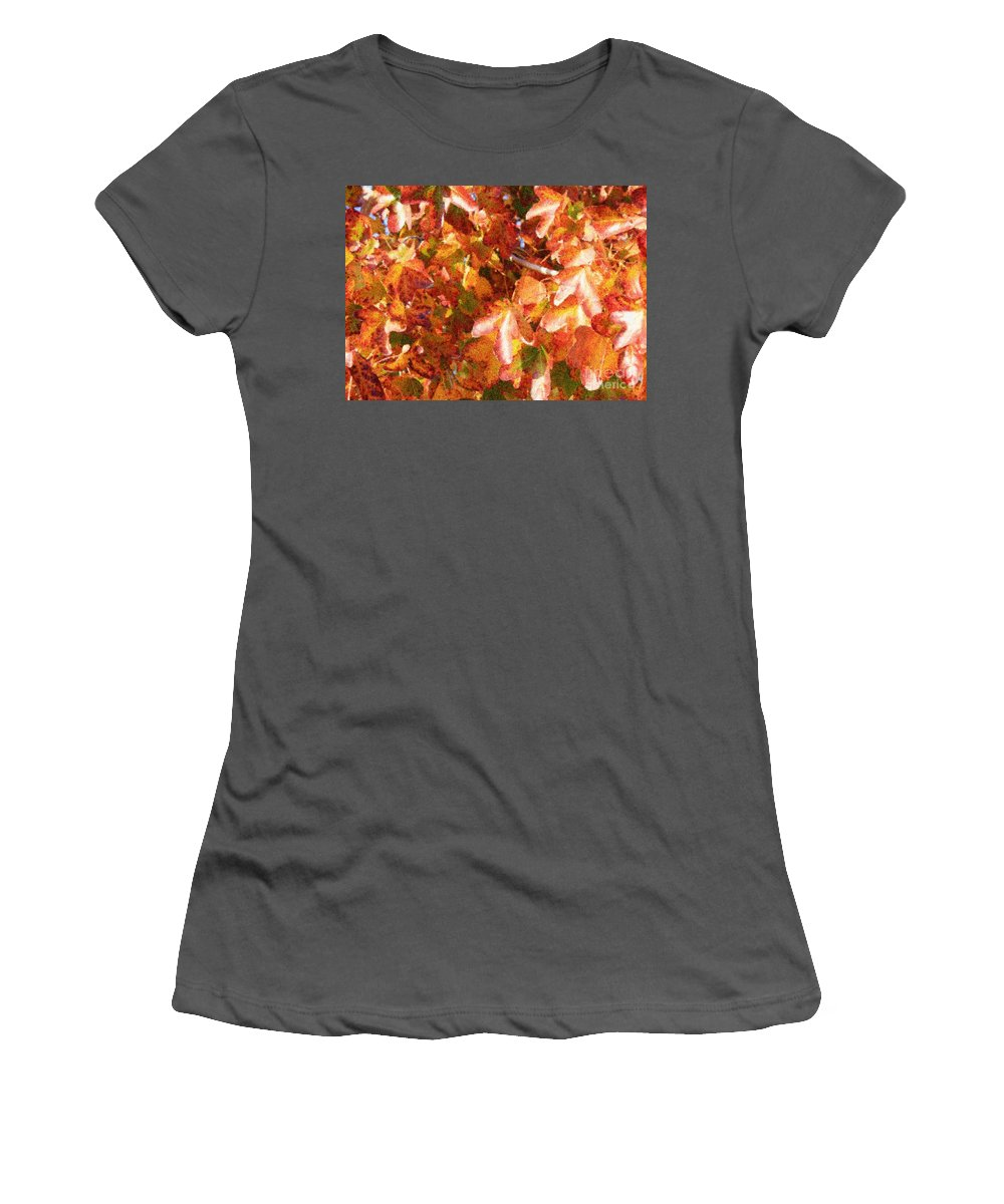Digital Painting Women's T-Shirt (Athletic Fit) featuring the photograph Seurat-like Fall Leaves by Carol Groenen