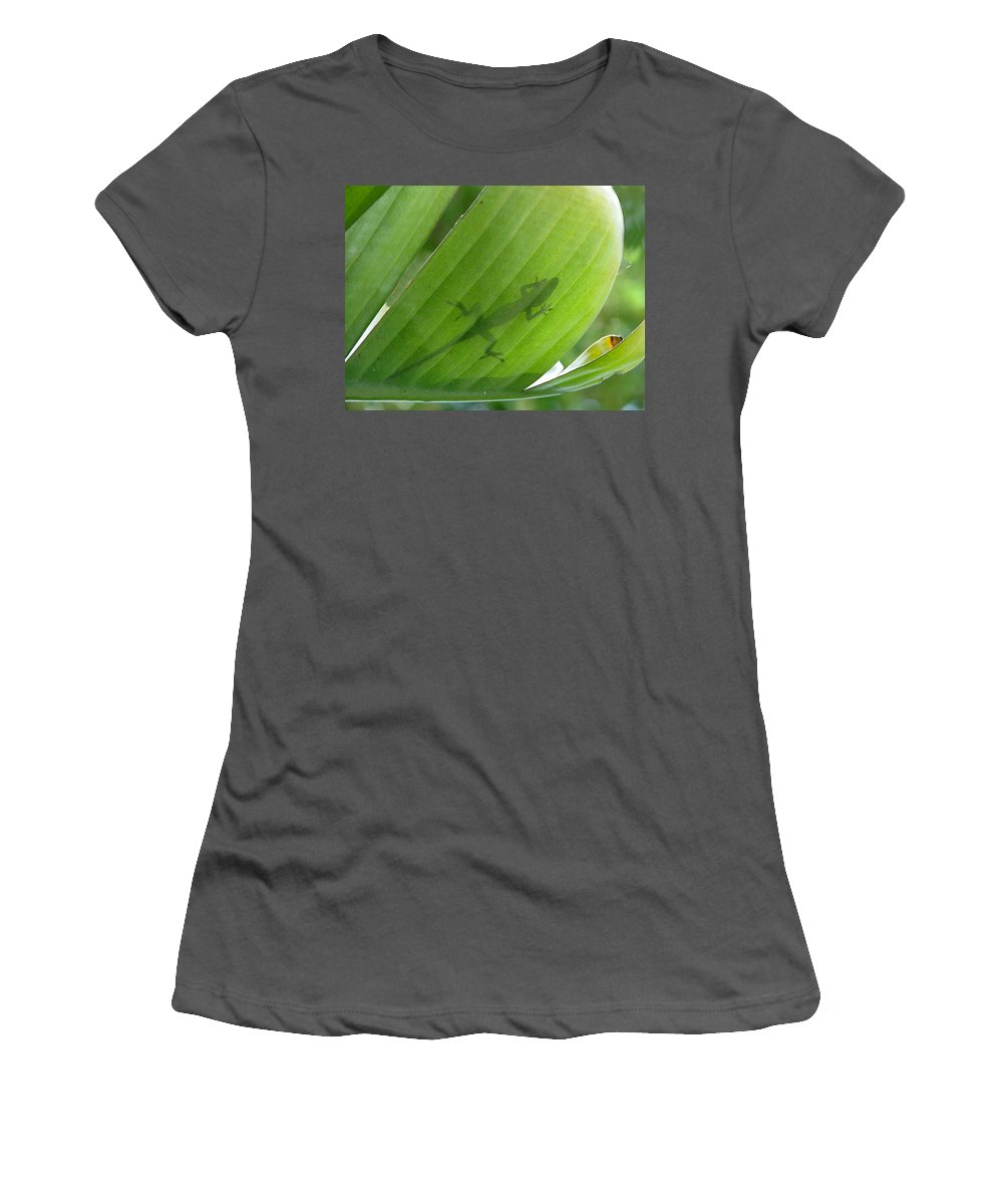 Nature Women's T-Shirt (Athletic Fit) featuring the photograph Shadow Lizard by Peg Urban
