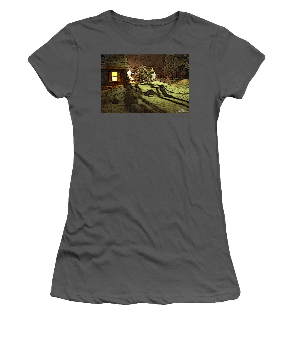 Vermont Women's T-Shirt (Athletic Fit) featuring the photograph Shadows Of Winters Night by Nancy Griswold
