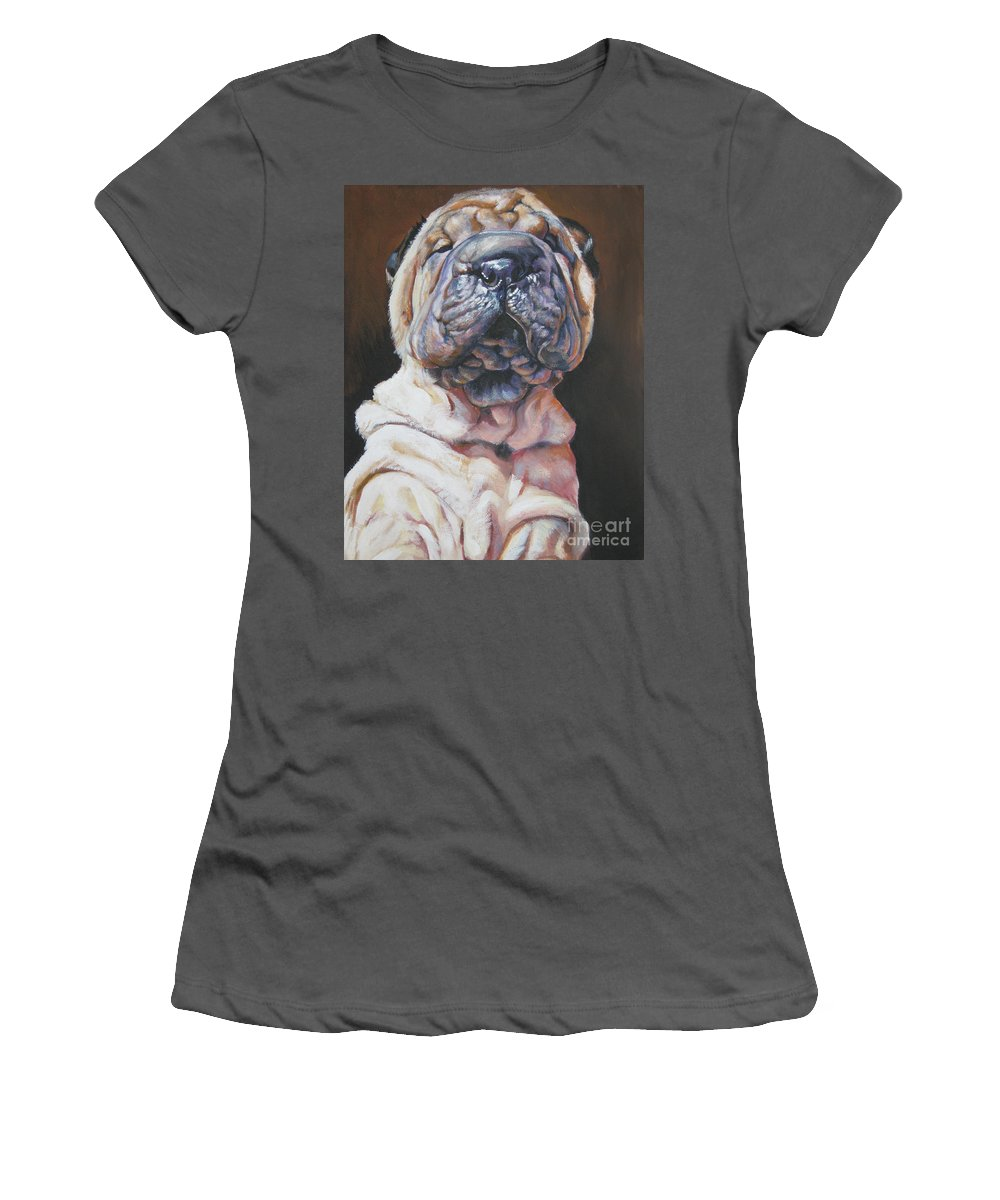 Dog Women's T-Shirt (Athletic Fit) featuring the painting Shar Pei Pup by Lee Ann Shepard