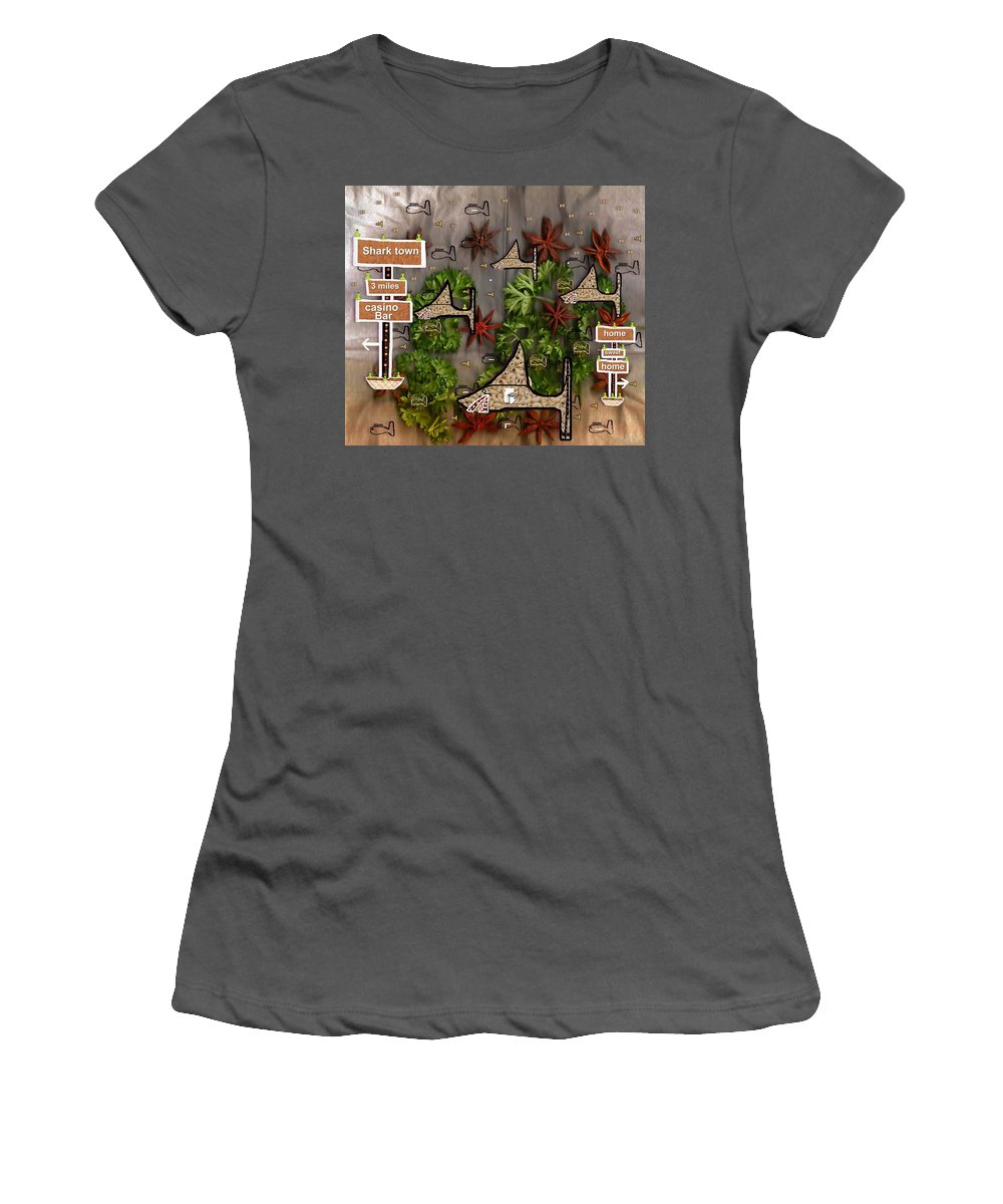 Fish Women's T-Shirt (Athletic Fit) featuring the mixed media Shark Town by Pepita Selles