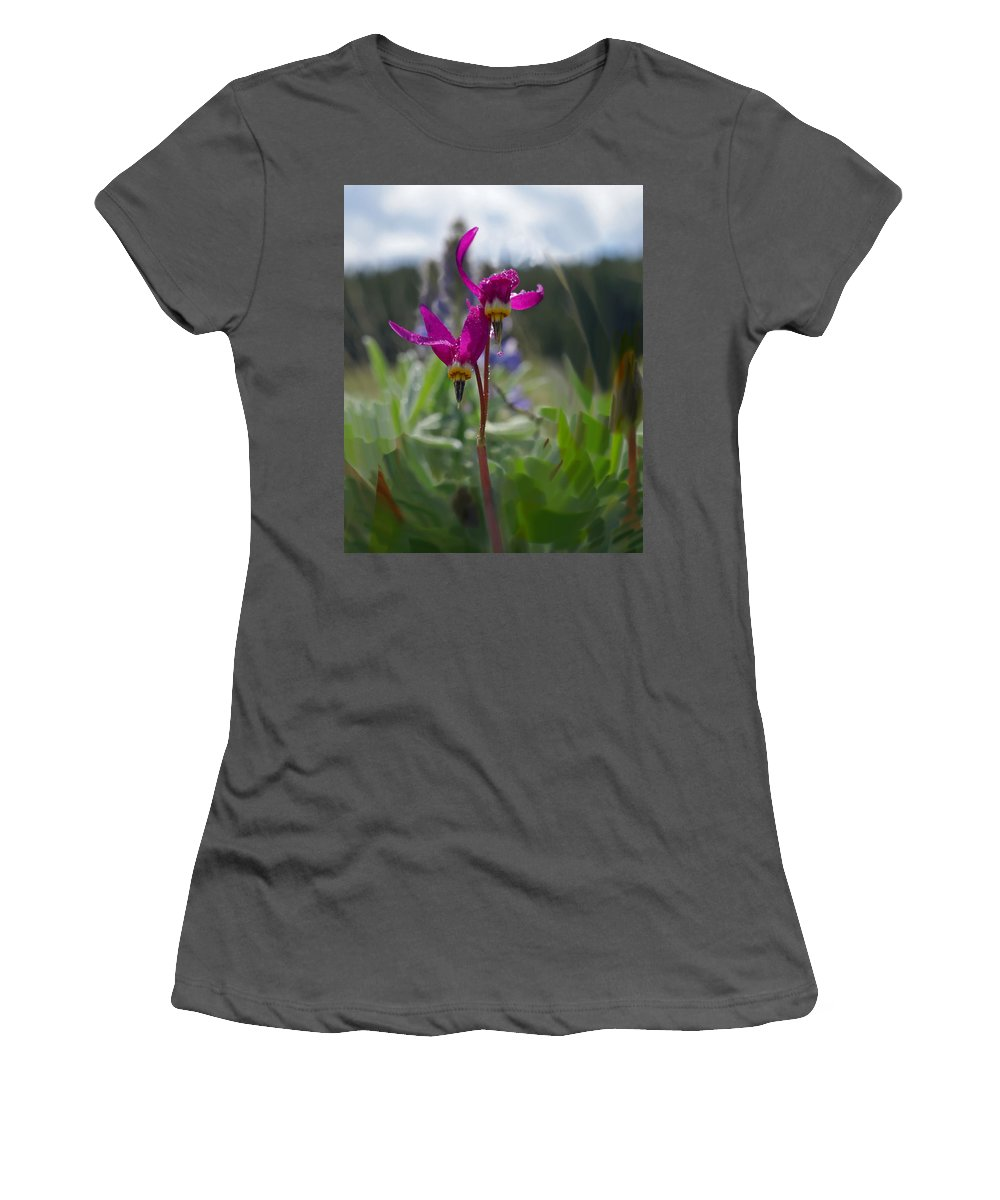 Wild Flower Women's T-Shirt (Athletic Fit) featuring the photograph Shooting Star by Heather Coen