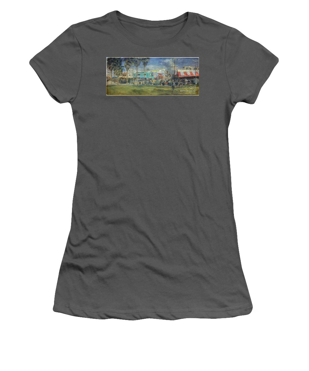 Fine Art Photograph Digital Watercolor Texture Overlay Sidewalk Cafe Venice Ca Panorama Women's T-Shirt (Athletic Fit) featuring the photograph Sidewalk Cafe Venice Ca Panorama by David Zanzinger