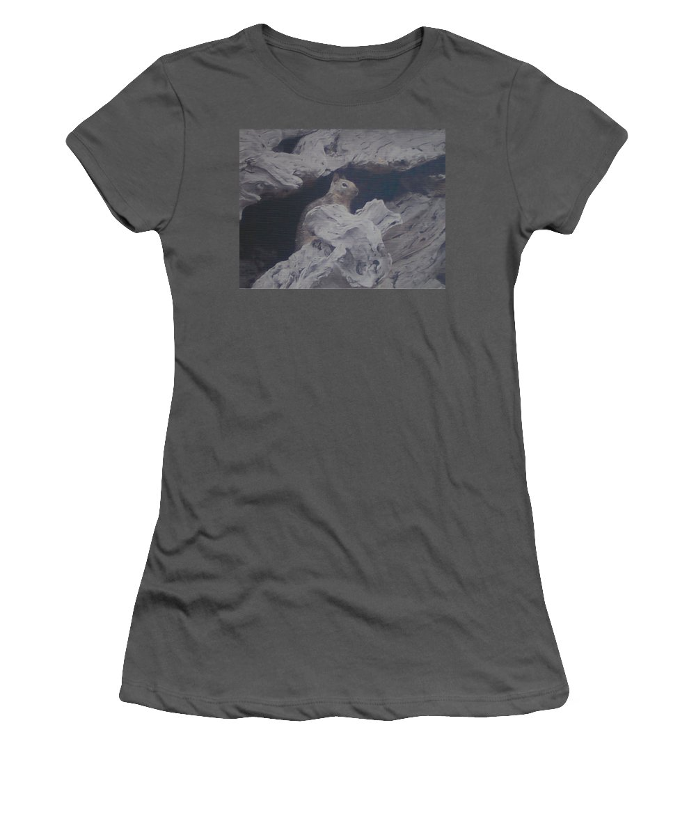 Squirrel Women's T-Shirt (Athletic Fit) featuring the photograph Silent Observer by Pharris Art