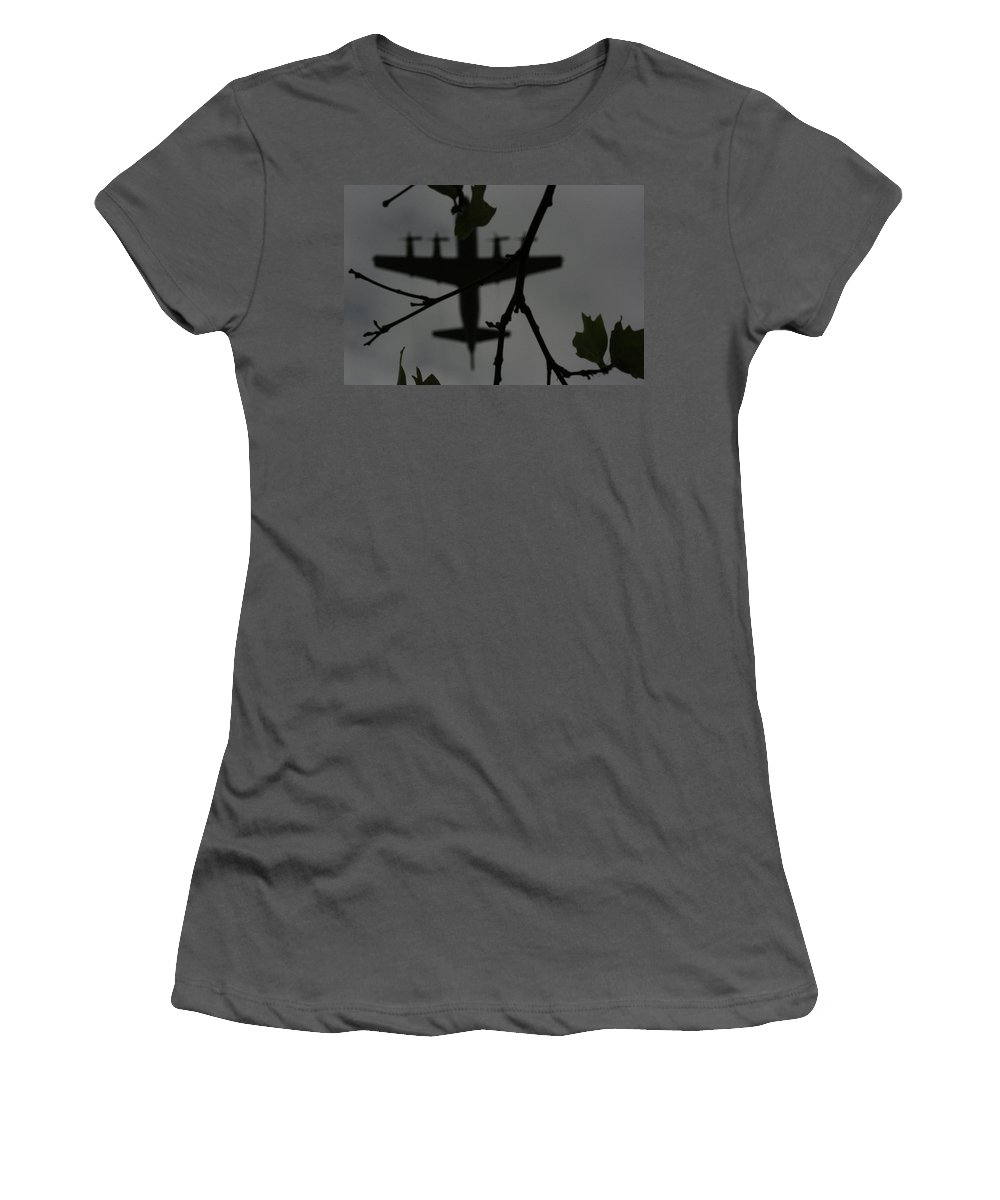 Airplane Women's T-Shirt (Athletic Fit) featuring the photograph Silhouette Of War And Peace by Douglas Barnard