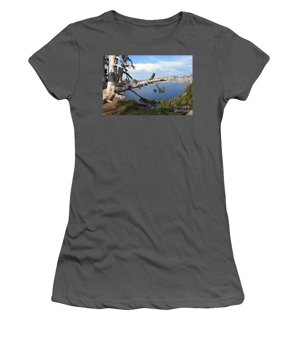 Crater Lake Women's T-Shirt (Athletic Fit) featuring the photograph Silvery Tree Over Crater Lake by Carol Groenen