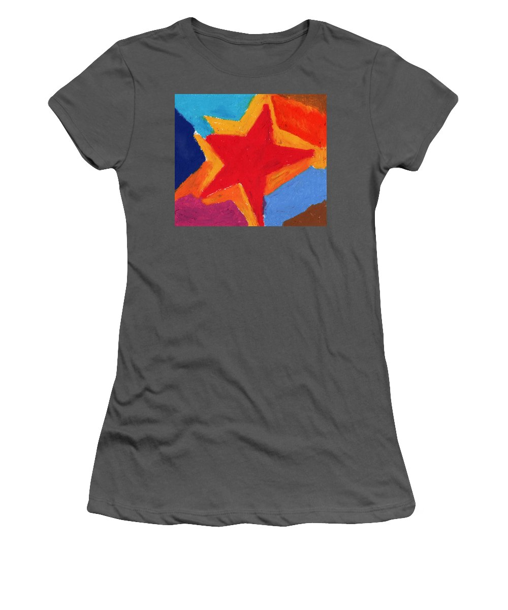 Star Women's T-Shirt (Athletic Fit) featuring the painting Simple Star-straight Edge by Stephen Anderson