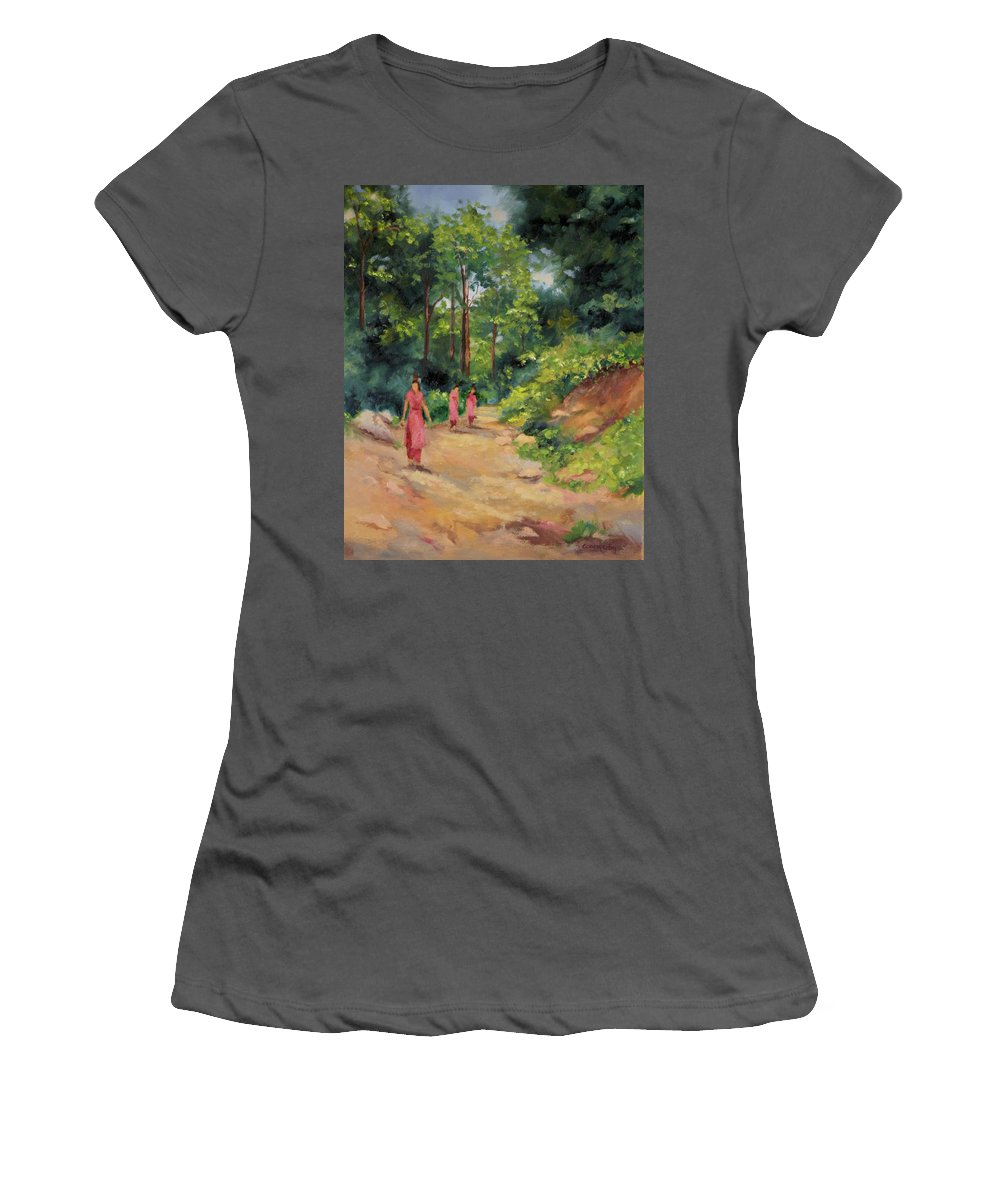 Nepal Landscapes Women's T-Shirt (Athletic Fit) featuring the painting Sisters In Nepal by Ginger Concepcion